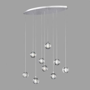 Edit Air 9 Light LED Oval Cluster Ceiling Pendant - Chrome