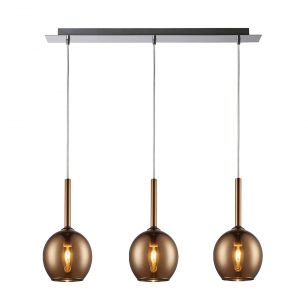 Edit Milton 3 Light Glass Bar Ceiling Pendant - Copper