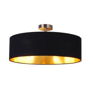 Edit Oxford Semi-Flush Ceiling Light - Black & Gold