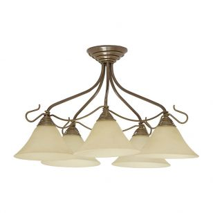 Edit Elizabeth 5 Arm Semi-Flush Ceiling Light - Gold