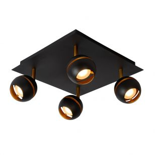 Lucide Binari 4 Light LED Spotlight Plate - Black
