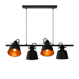 Lucide Pia 4 Light Bar Ceiling Pendant - Black