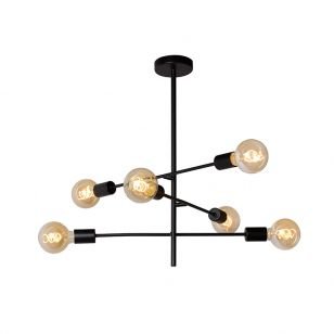Lucide Lester 6 Arm Ceiling Pendant Light - Black