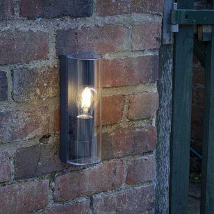 Dar Quenby Half Lantern Outdoor Wall Light - Anthracite