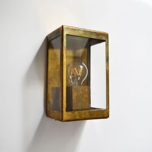 Edit Coastal Cabin Half Lantern Outdoor Wall Light - Brass