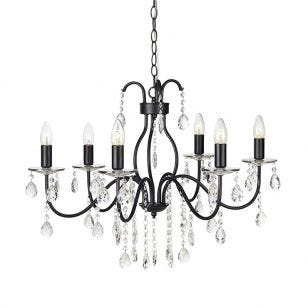 Mary 6 Light Chandelier - Black
