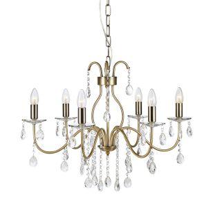 Mary 6 Light Chandelier - Antique Brass