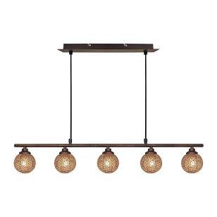 Edit Scroll 5 Bar Ceiling Pendant Light - Bronze