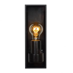 Lucide Dukan Half Lantern Outdoor Wall Light - Black