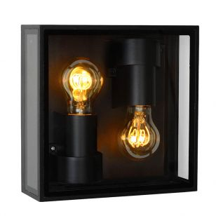 Lucide Dukan 2 Light Half Lantern Outdoor Wall Light - Black