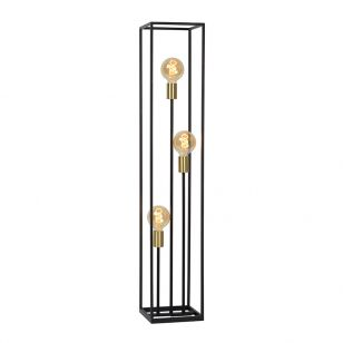Lucide Ruben 3 Light Floor Lamp - Black & Gold