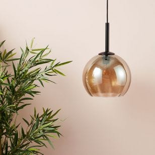 Edit Smooth Glass Ceiling Pendant Light - Amber