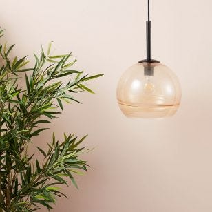 Edit Stripe Glass Ceiling Pendant Light - Amber