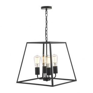Dar Academy 4 Arm Ceiling Pendant Light - Matt Black