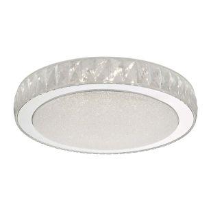 Dar Akelia Large LED Flush Ceiling Light - Polished Stainless Steel