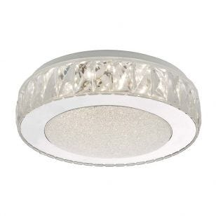 Dar Akelia LED Flush Ceiling Light - Polished Stainless Steel