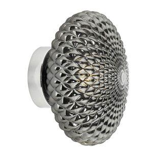 Dar Bibiana Glass Flush Wall Light - Smoked