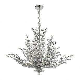 Dar Cordelia Crystal Chandelier - Polished Chrome