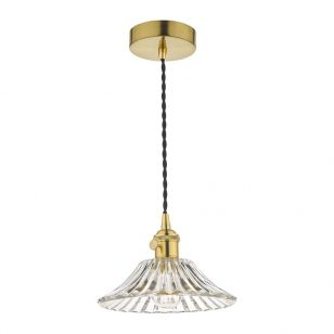 Dar Hadano Flared Glass Ceiling Pendant Light - Natural Brass