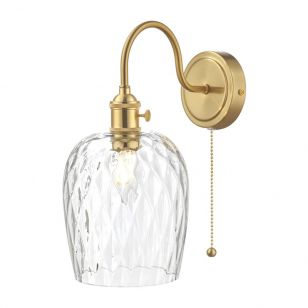 Dar Hadano Dimpled Glass Wall Light - Natural Brass