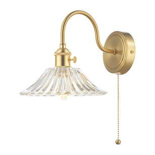 Dar Hadano Flared Glass Wall Light - Natural Brass