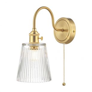 Dar Hadano Ribbed Glass Wall Light - Natural Brass