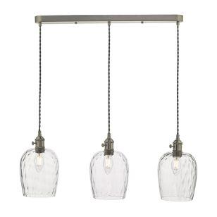Dar Hadano Dimpled Glass 3 Light Bar Ceiling Pendant - Antique Chrome