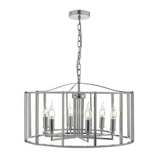Dar Myka 6 Arm Ceiling Pendant Light - Polished Chrome
