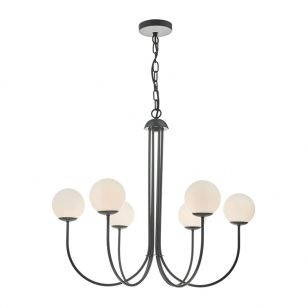 Dar Ornella 6 Arm Ceiling Pendant Light - Matt Black