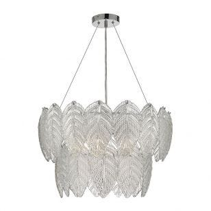 Dar Phillipa Glass Ceiling Pendant Light - Polished Chrome