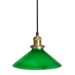 Edit August Large Glass Ceiling Pendant Light with Plug - Green