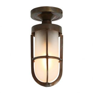 Mullan Oregon Cage Semi-Flush Ceiling Light - Antique Brass