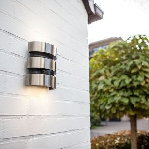 Maya LED Outdoor Up & Down Wall Light with PIR Sensor - Stainless Steel