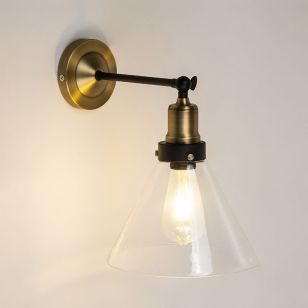 Edit Factory Glass Wall Light - Antique Brass