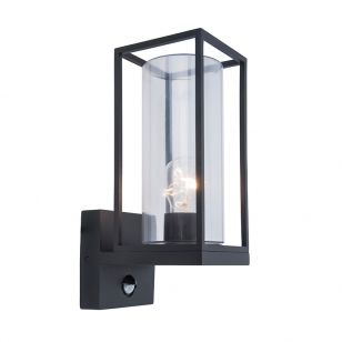 Flair Outdoor Lantern Wall Light with PIR Sensor - Matt Black