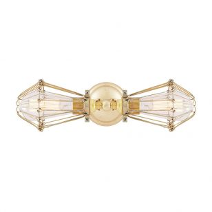 Mullan Praia Double Cage Wall Light - Polished Brass