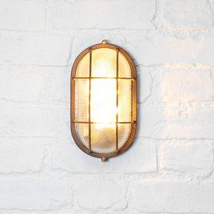 365 Solar LED Oval Flush Wall Light - Rust Brown