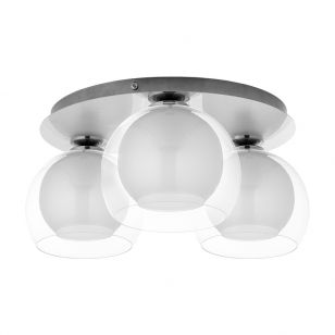 Edit Austell 3 Light Glass Flush Ceiling Light - White