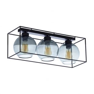 Edit Tumbler 3 Light Flush Glass Ceiling Light - Smoked