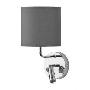 Edit Chalet Wall Light with LED Reading Light - Graphite & Chrome