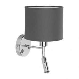 Edit Cabin Wall Light with LED Reading Light - Graphite & Chrome