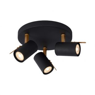 Lucide Grony 3 Light LED Spotlight Plate - Black & Brass