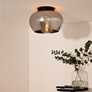 Lucide Judi Glass Flush Ceiling Light - Smoked