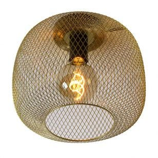 Lucide Mesh Flush Ceiling Light - Satin Brass