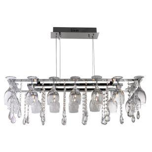 Wine Glass 10 Light Bar Ceiling Pendant - Chrome