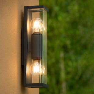 Lucide Claire Mini Half Lantern Outdoor Twin Wall Light - Anthracite