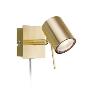 Hyssna LED Wall Spotlight with Plug - Brass