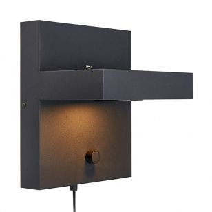 Kubik Shelf and LED Wall Light with USB Charging Port - Black