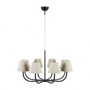 Cozy 8 Arm Ceiling Pendant Light - Black