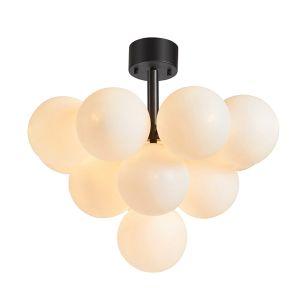 Merlot Semi-Flush Ceiling Light - Black & White